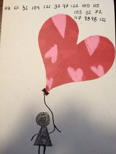 "Hubby's Valentine's Card. The numbers translate into ""To my amazing Hubby"""