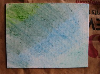 The canvas after the colors have been smudged.