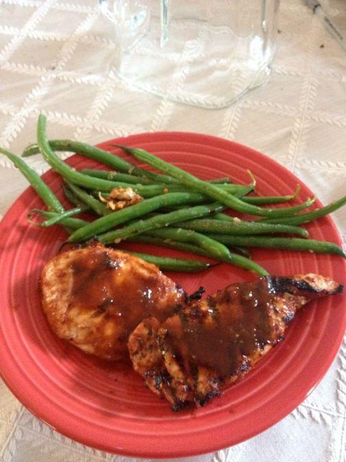 BBQ Chicken with Garlic green beans