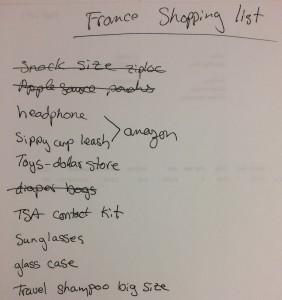 Shopping List for France!